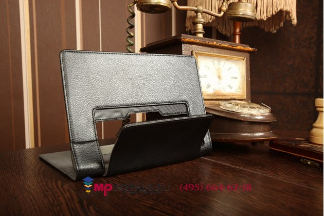 Фирменный чехол закрытого типа с отделением под аккумулятор для Lenovo Yoga Tablet 8 B6000 черный кожаный