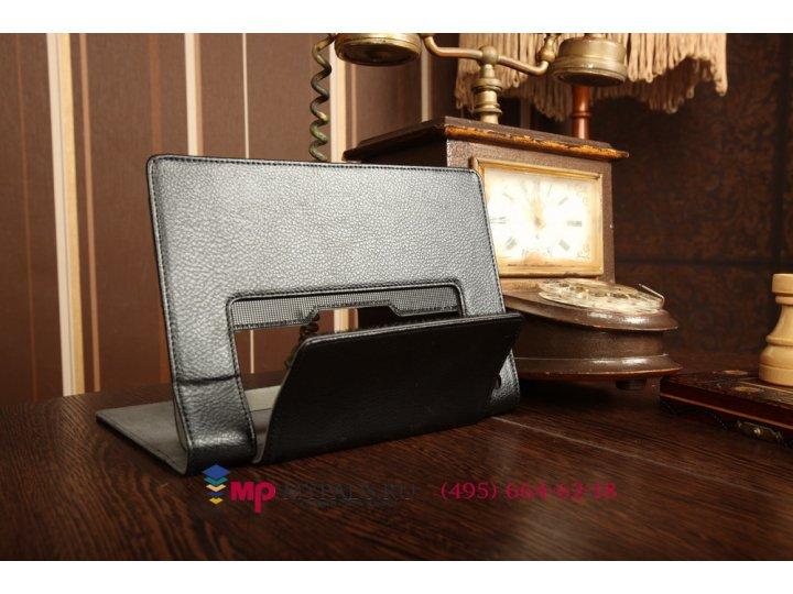 Фирменный чехол закрытого типа с отделением под аккумулятор для Lenovo Yoga Tablet 8 B6000 черный кожаный..