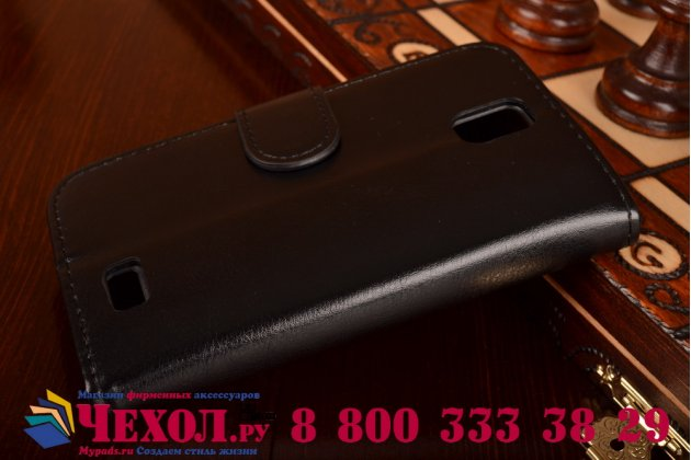 Фирменный чехол-книжка из качественной импортной кожи с мульти-подставкой застёжкой и визитницей для Леново А328 черный