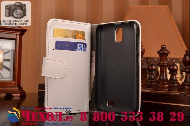 Фирменный чехол-книжка из качественной импортной кожи с подставкой застёжкой и визитницей для Lenovo A328 белый