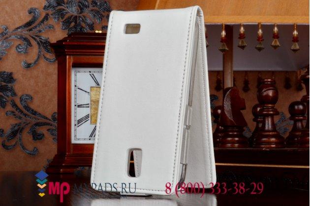 """Фирменный оригинальный вертикальный откидной чехол-флип для Lenovo A328 (Dual Sim) белый из качественной импортной кожи """"Prestige"""" Италия"""