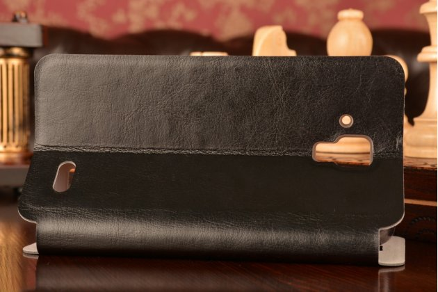 Фирменный чехол-книжка из качественной водоотталкивающей импортной кожи на жёсткой металлической основе для Lenovo A536 черный