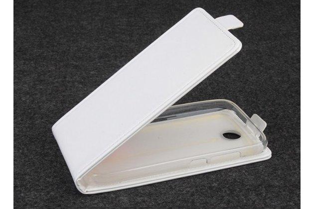 """Фирменный оригинальный вертикальный откидной чехол-флип для Lenovo A560 белый из качественной импортной кожи """"Prestige"""" Италия"""