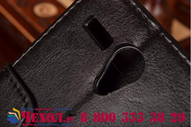 Фирменный чехол-книжка из качественной импортной кожи с мульти-подставкой застёжкой и визитницей для Леново А606 черный