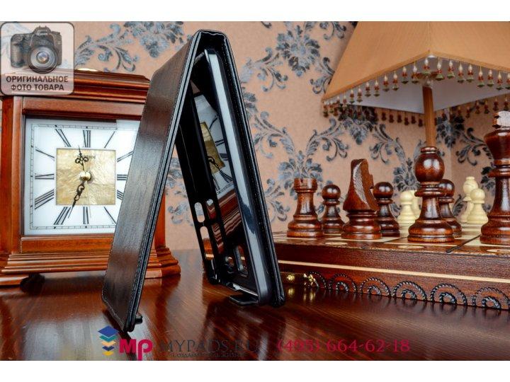 Фирменный оригинальный вертикальный откидной чехол-флип для Lenovo A806 (A8) черный из качественной импортной ..