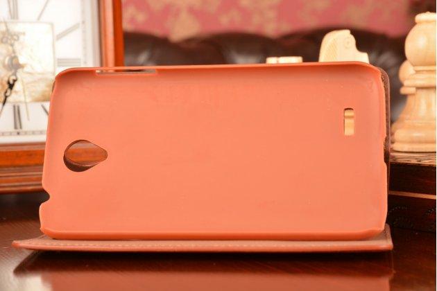 Фирменный чехол-книжка с подставкой для Lenovo A850 коричневый