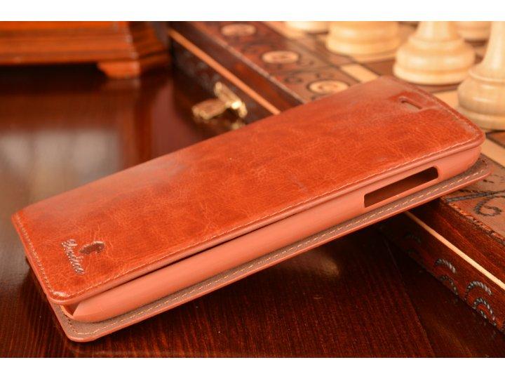 Фирменный чехол-книжка с подставкой для Lenovo A850 коричневый..