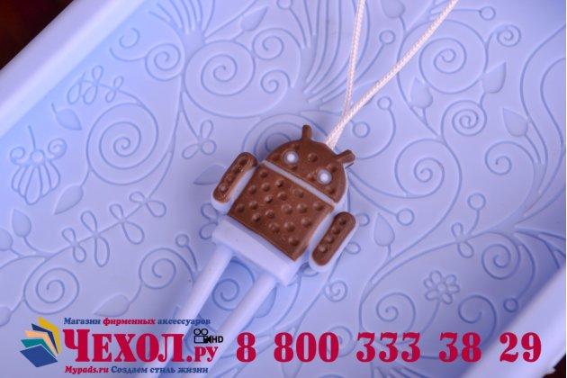 """Фирменная необычная уникальная полимерная мягкая задняя панель-чехол-накладка для Lenovo S850  """"тематика Андроид в черничном шоколаде"""""""