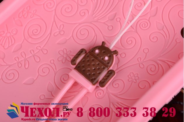 """Фирменная необычная уникальная полимерная мягкая задняя панель-чехол-накладка для Lenovo S850 """"тематика Андроид в клубничном шоколаде"""""""