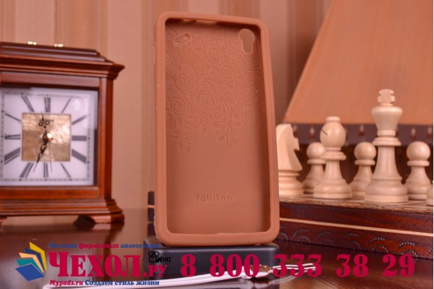 """Фирменная необычная уникальная полимерная мягкая задняя панель-чехол-накладка для Lenovo S850 """"тематика Андроид в тёмном Шоколаде"""""""