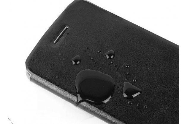 Фирменный чехол-книжка из качественной водоотталкивающей импортной кожи на жёсткой металлической основе для Lenovo S856 черный