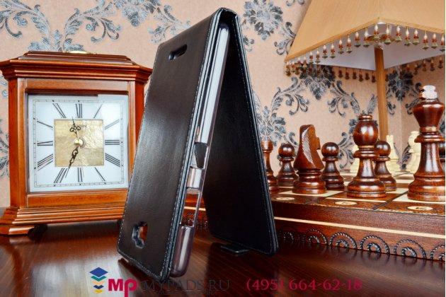 """Фирменный оригинальный вертикальный откидной чехол-флип для for Lenovo S856 (P0R1000) черный из качественной импортной кожи """"Prestige"""" Италия"""