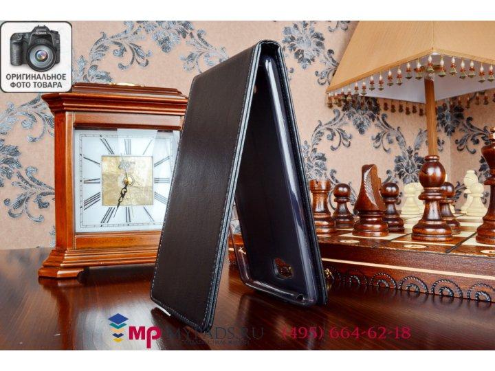 Фирменный оригинальный вертикальный откидной чехол-флип для for Lenovo S856 (P0R1000) черный из качественной и..
