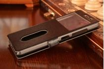 Фирменный чехол-книжка для Lenovo S856 черный с окошком для входящих вызовов и свайпом водоотталкивающий