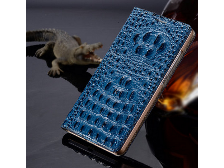 Фирменный роскошный эксклюзивный чехол с объёмным 3D изображением рельефа кожи крокодила синий для Lenovo VIBE..