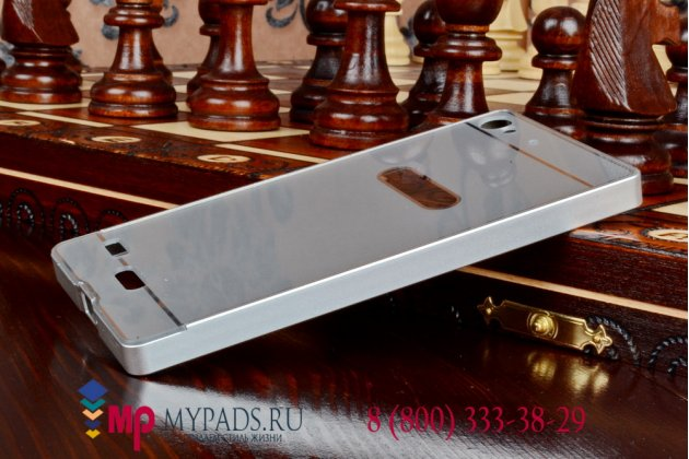 Фирменная металлическая задняя панель-крышка-накладка из тончайшего облегченного авиационного алюминия для Lenovo VIBE X2 серебристая