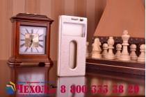 Фирменный чехол-книжка для Lenovo VIBE X2 золотой с окошком для входящих вызовов и свайпом водоотталкивающий
