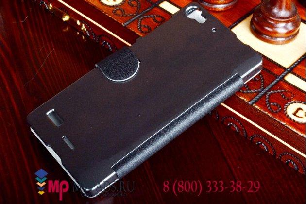 Фирменный оригинальный чехол-книжка для Lenovo VIBE X2 черный кожаный с окошком для входящих вызовов