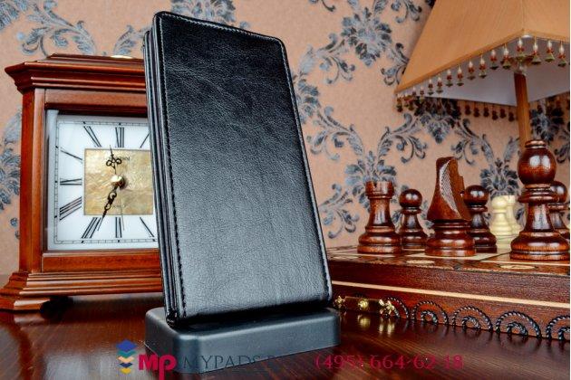 """Фирменный оригинальный вертикальный откидной чехол-флип для Леново Вайб Х2 (LBP0RM001) черный из качественной импортной кожи """"Prestige"""" Италия"""
