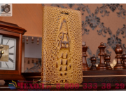 Фирменный роскошный эксклюзивный чехол с объёмным 3D изображением кожи крокодила коричневый для Lenovo Vibe Z1..