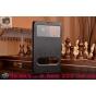 Фирменный оригинальный чехол-книжка для Lenovo Vibe Z K910 черный кожаный с окошком для входящих вызовов..