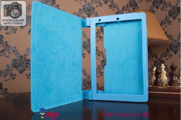Фирменный чехол-футляр-книжка для Lenovo Yoga Tablet 10 HD+ B8080 бирюзовый кожаный