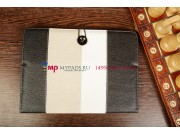 Чехол-обложка для MSI Primo 90 черный с серой полосой кожаный..