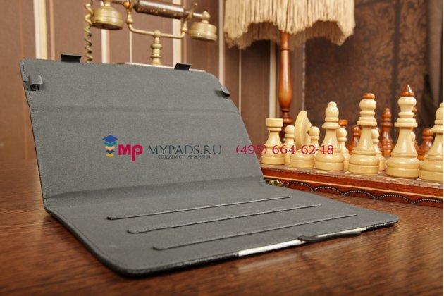 Чехол-обложка для MSI Primo 90 черный с серой полосой кожаный