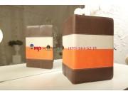 Чехол-обложка для MSI Primo 90 коричневый с оранжевой полосой кожаный..