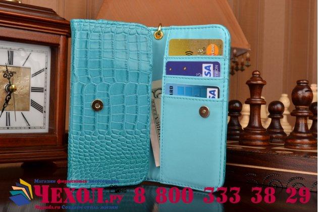 Фирменный роскошный эксклюзивный чехол-клатч/портмоне/сумочка/кошелек из лаковой кожи крокодила для телефона Manta MSP5004. Только в нашем магазине. Количество ограничено