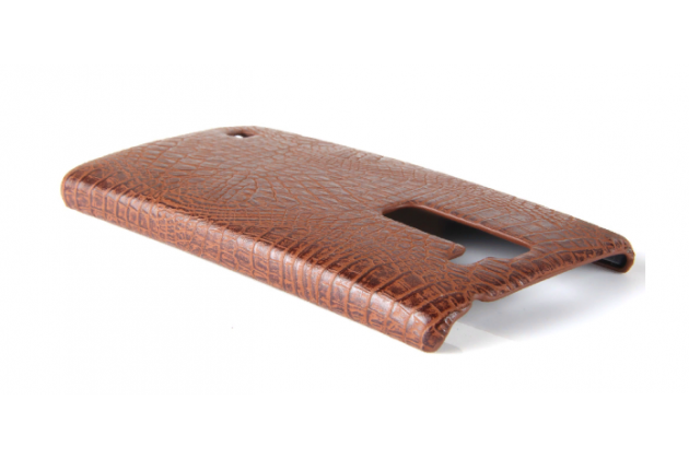 Фирменная роскошная элитная премиальная задняя панель-крышка для LG Magna / G4C дизайн кожи крокодила коричневая