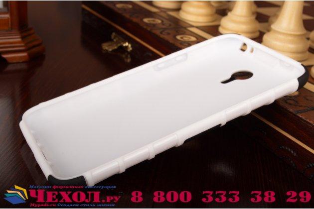 Противоударный усиленный ударопрочный фирменный чехол-бампер-пенал для Meizu M1 note белый