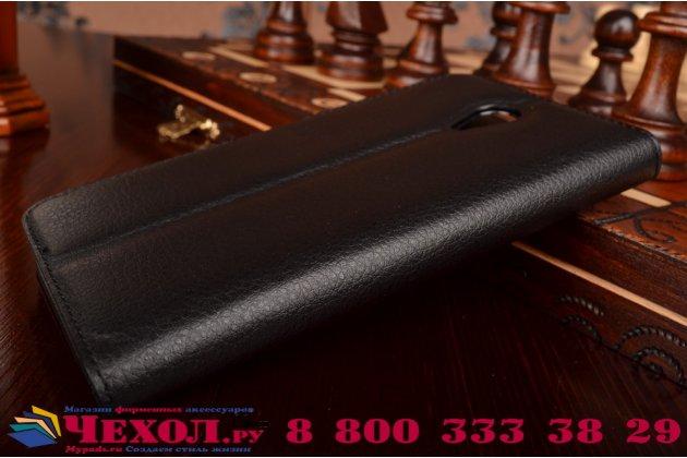 Фирменный чехол-книжка из качественной импортной кожи с мульти-подставкой застёжкой и визитницей для Мейзу М1 Ноте черный
