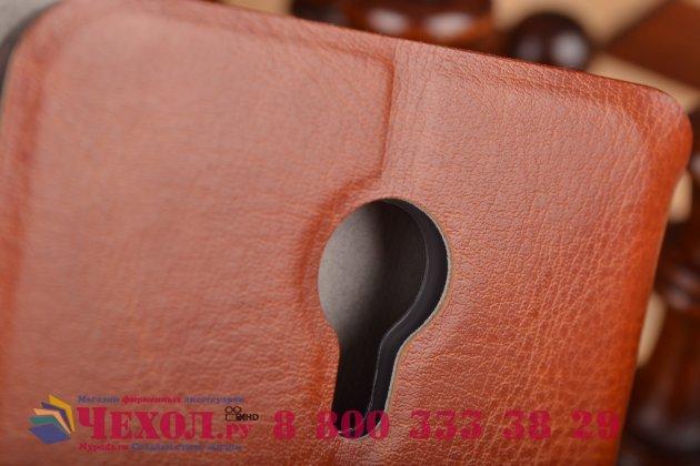 Фирменный чехол-книжка из качественной водоотталкивающей импортной кожи на жёсткой металлической основе для Meizu M1 note  коричневый