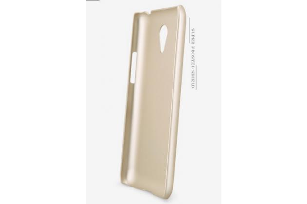 Фирменная задняя панель-крышка-накладка из тончайшего и прочного пластика для Meizu M1 note золотая