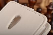 """Фирменный оригинальный вертикальный откидной чехол-флип для Meizu M1 note белый из качественной импортной кожи """"Prestige"""" Италия"""