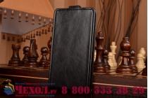 """Фирменный оригинальный вертикальный откидной чехол-флип для Meizu M1 note черный кожаный """"Prestige"""" Италия"""