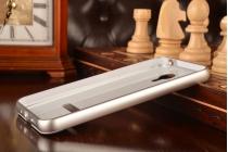 Фирменная металлическая задняя панель-крышка-накладка из тончайшего облегченного авиационного алюминия для Meizu M1 note серебристая