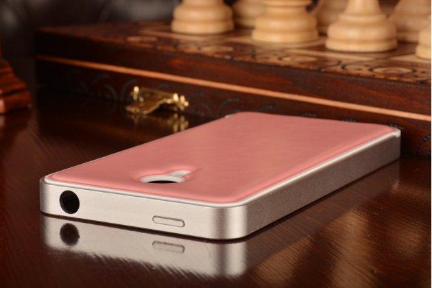 Фирменная роскошная элитная премиальная задняя панель-крышка на металлической основе обтянутая импортной кожей для Meizu M1 note  королевский розовый
