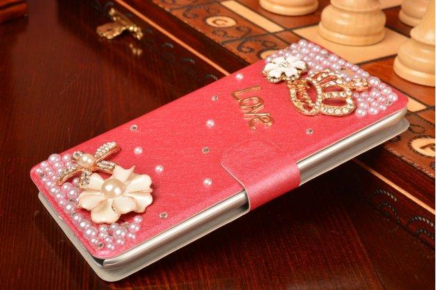Фирменный роскошный чехол-книжка безумно красивый декорированный бусинками и кристаликами на Meizu M1 note розовый