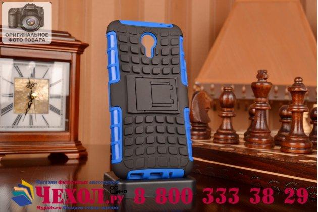 Противоударный усиленный ударопрочный фирменный чехол-бампер-пенал для Meizu M1 note синий
