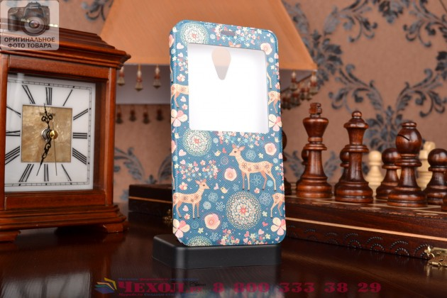 Фирменный чехол-книжка с безумно красивым расписным рисунком Оленя в цветах на Meizu M1 note с окошком для звонков