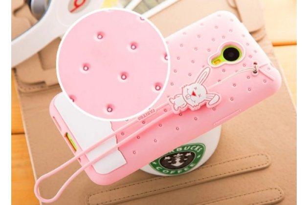 """Фирменная необычная уникальная полимерная мягкая задняя панель-чехол-накладка для Meizu M1 note """"тематика Андроид в клубничном шоколаде"""""""