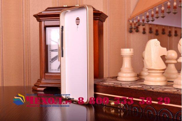 Фирменная роскошная элитная премиальная задняя панель-крышка на металлической основе обтянутая импортной кожей для Meizu M1 note  королевский коричневый