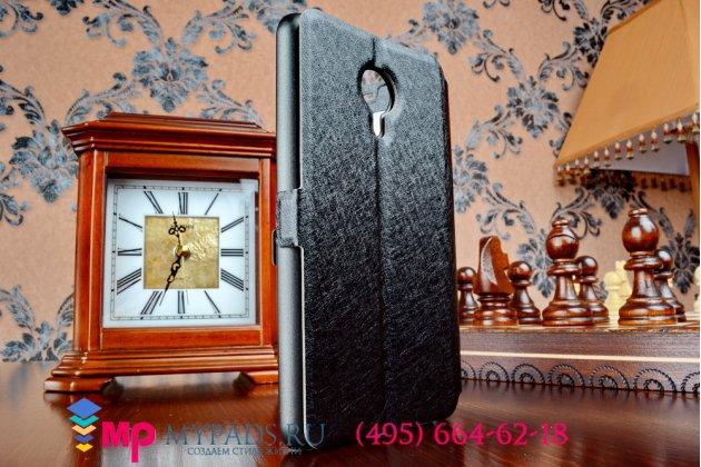 Фирменный оригинальный чехол-книжка для Meizu M1 note черный кожаный с окошком для входящих вызовов и свайпом