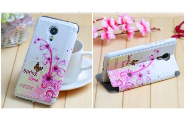 """Фирменный чехол-книжка с безумно красивым расписным рисунком Бабочки в цветах на Meizu M2 mini 5.0"""" с окошком для звонков"""