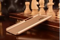 Фирменная задняя панель-крышка-накладка из тончайшего и прочного пластика для Meizu M2 note золотая