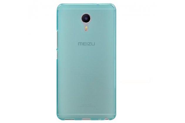 """Фирменная ультра-тонкая силиконовая задняя панель-чехол-накладка для Meizu M3 Max 6.0"""" голубая"""