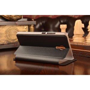 Фирменный чехол-книжка для Meizu M3 Note черный с окошком для входящих вызовов из импортной кожи