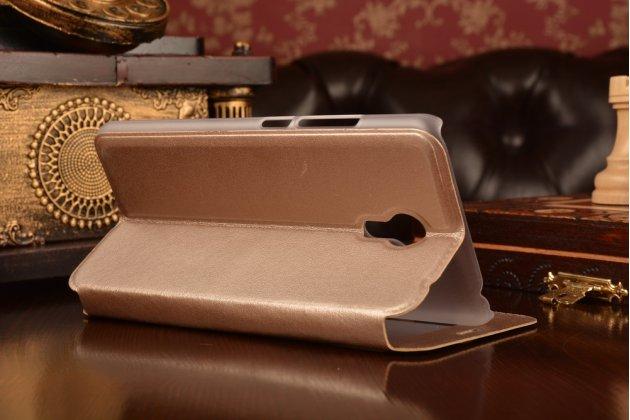 Фирменный чехол-книжка для Meizu M3 Note золотой с окошком для входящих вызовов из импортной кожи